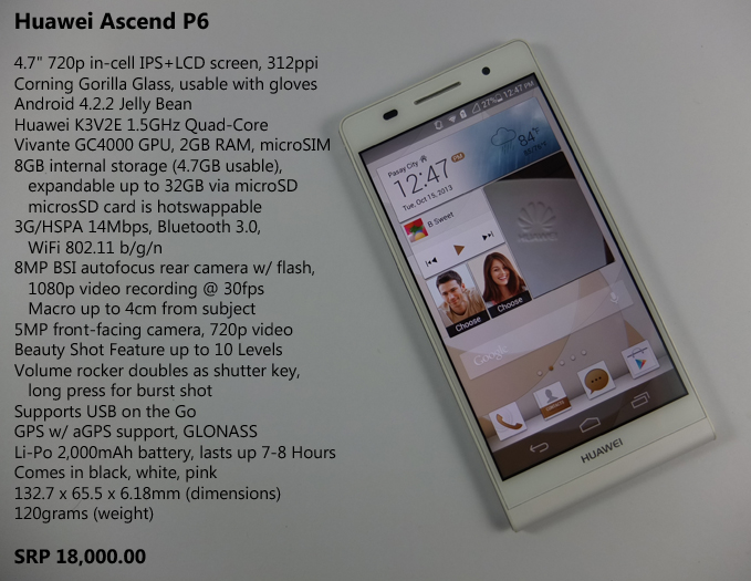 Huawei Ascend P6 Review Specs