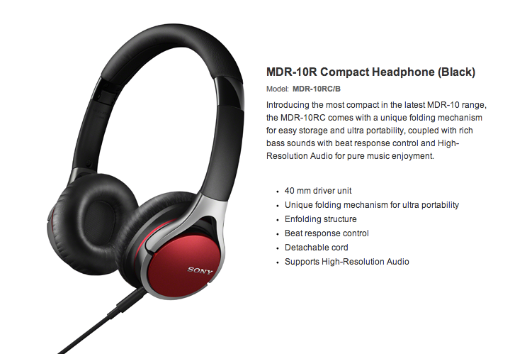Sony High Resolution Audio Series MDR-10RC
