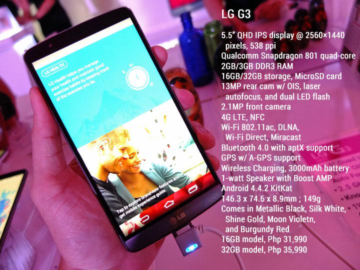 LG G3 Launch Specs