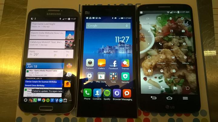 Samsung Galaxy S4, Xiaomi Mi 3, LG G2
