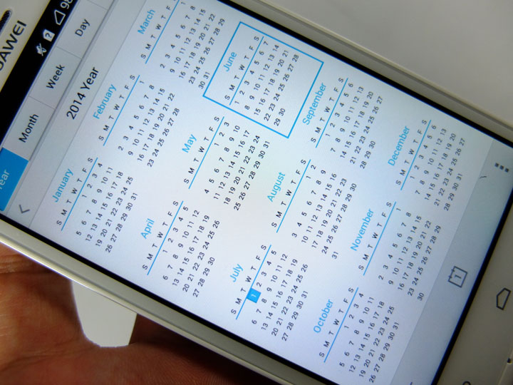 Huawei Ascend G6 Review Calendar