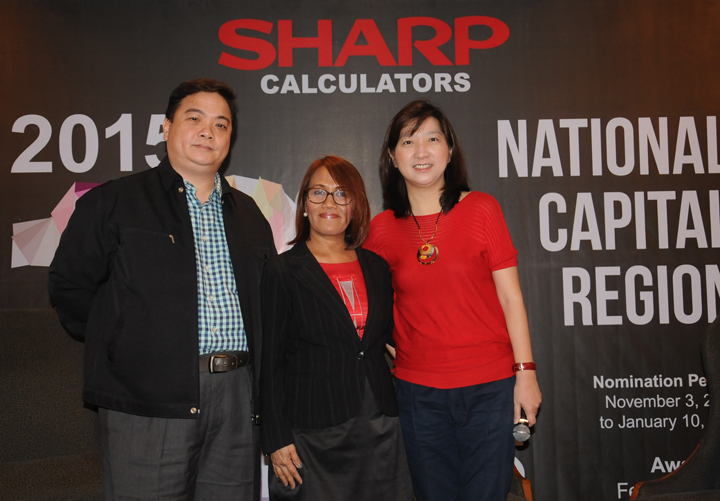 Lucero Ong AVP Collins, Ruby Cristobal Div Chief Science and Technology Manpower Educ Research and Promotion-DOST  and Julie Lim Vice President Collins Internationl Inc (distributor of Sharp Calculators) 2