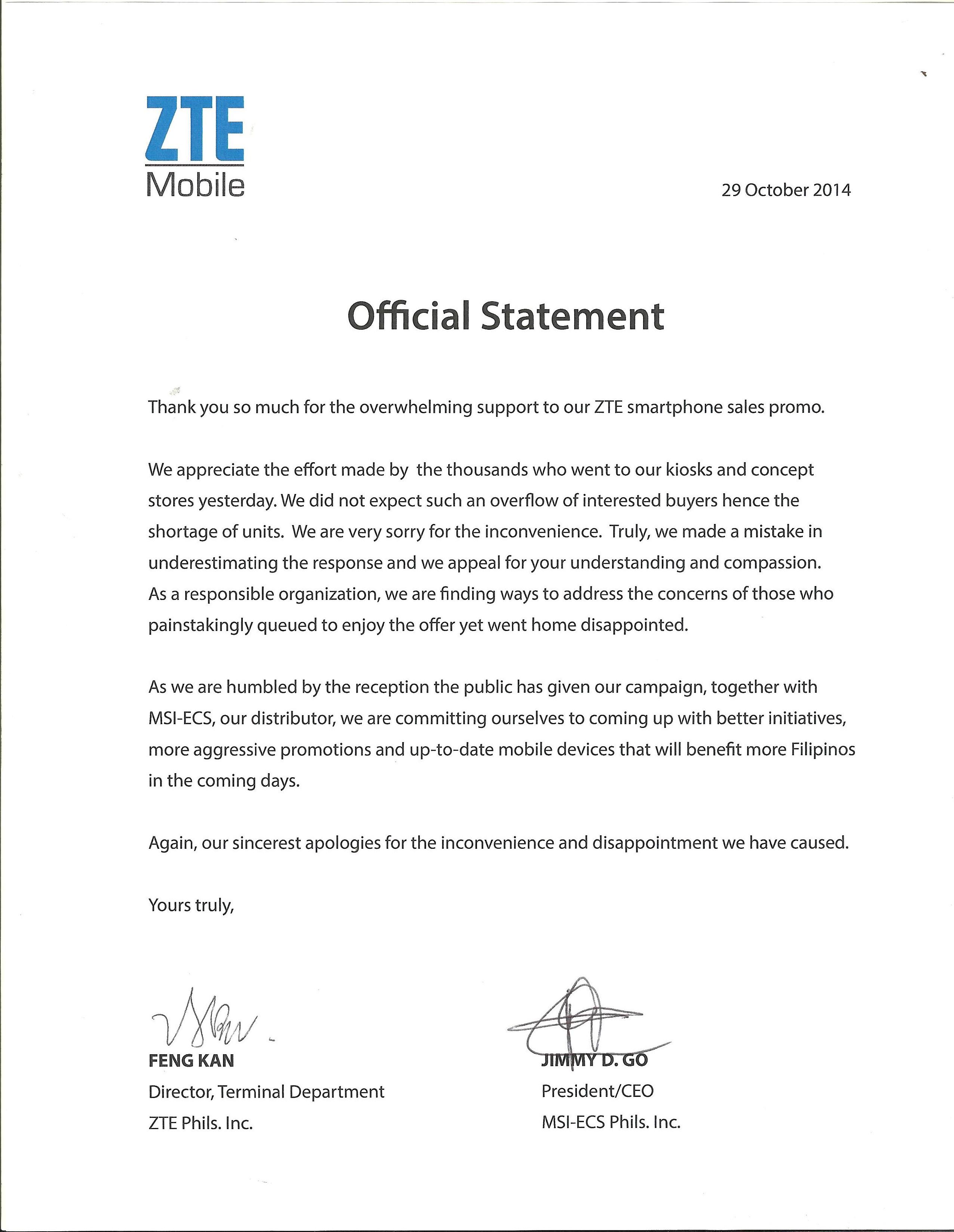 ZTE apology