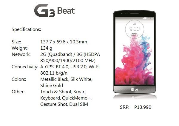 G3 Beat Specs