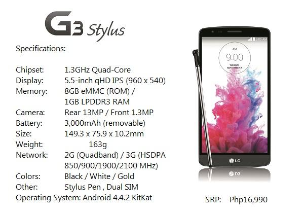 G3 Stylus Specs