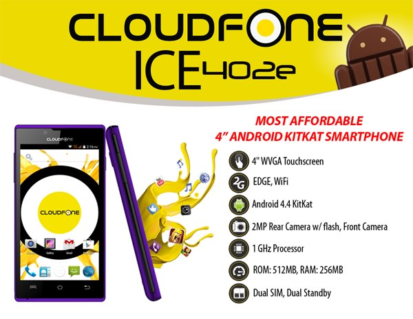 Cloudfone Ice 402e product sheet