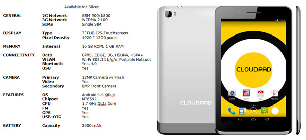 CloudPad 700FHD Spec Sheet