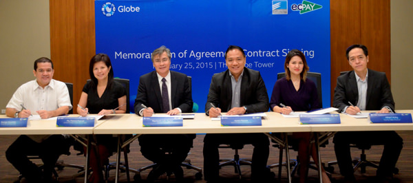 Formalizing the partnership are (from L-R) executives from Gate Distribution Corporate Secretary George Gonzalez, General Manager and Sales Director Ma. Patricia Pascual, and ECPay President Raymond Jude Aguilar, together with GXI President and CEO Xavier Marzan, Marketing Director Franchette Chingcuanco-Cardona, and Issuing Sales Director Sales Issuance Director Albert Antig.