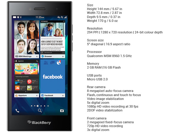 BlackBerry Leap Specs