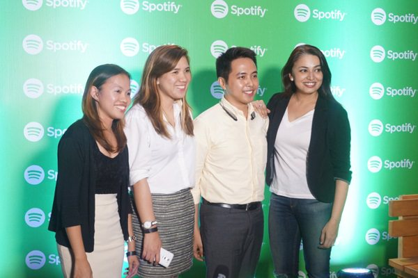 Seen at the recent first year Philippine anniversary celebration at the 12 Monkeys Music Hall and Pub in Century Mall, Makati City are Spotify Asia Managing Director Sunita Kaur and LG Philippines' Home Entertainment Product Officer Angelica Dumlao