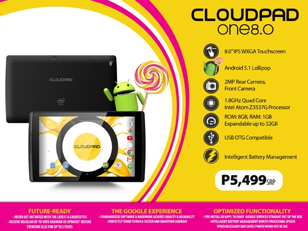 CloudPad One 8.0 Product Sheet