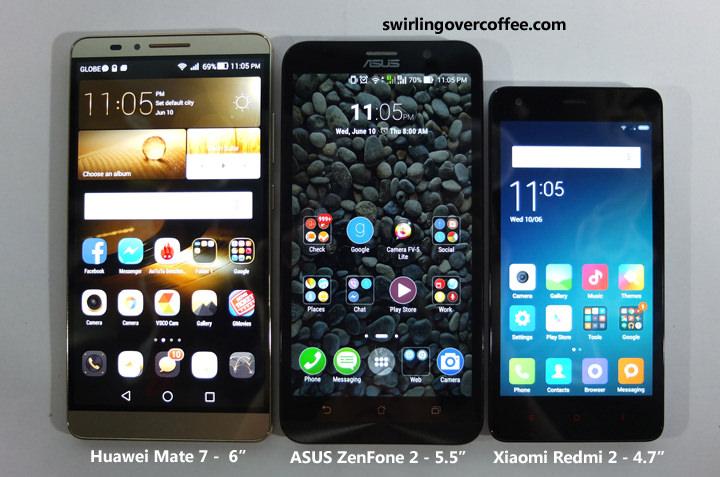 Xiaomi Redmi 2, Huawei Mate 7, ASUS ZenFone 2