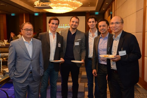 Manuel V. Pangilinan, Paolo Azzola (Co-COO, Smart e-Money Inc.), Daniel Torres (Managing Director, Easy Taxi), Santiago Herrera (Consultant, Smart e-Money Inc.), Stephen Misa (VP and Group Head, Voyager Innovations), Orlando B. Vea (President and CEO, Voyager Innovations)