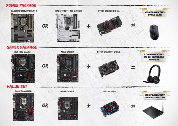 Power Package  ASUS Z97 Sabertooth Mark 1                - PHP 12,630 ASUS Z97 Sabertooth Mark S               - PHP 16,390 ASUS Strix GTX 980 OC                        - PHP 33,820  Gaming Package  ASUS H97-Pro Gamer                           - PHP   6,350 ASUS A88X-Gamer                               - PHP   5,560 ASUS Strix GTX 750 Ti OC (2GB)      - PHP   8,150 ASUS Strix GTX 750 Ti OC (4GB)      - PHP 10,150  Value Set  ASUS B85-Pro Gamer                           - PHP   4,990 ASUS B85M-Gamer                               - PHP   3,990 ASUS GT730 (2GB)                               - PHP   2,700