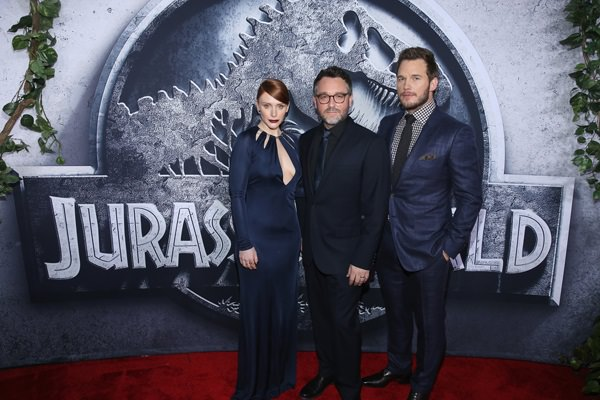 Actress Bryce Dallas Howard, Director Colin Trevorrow and Chris Pratt pose at the Jurassic World premiere sponsored by Samsung at Dolby Theatre on June 9, 2015 in Hollywood, California.