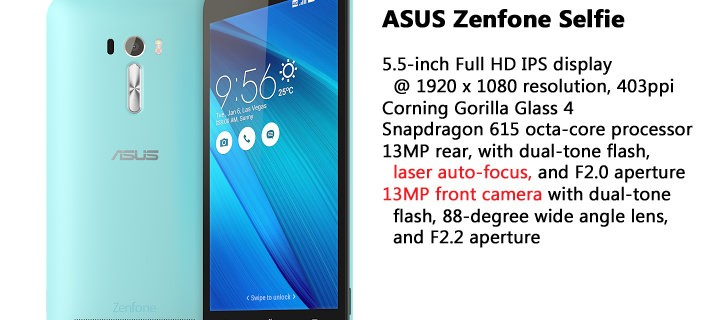 ASUS ZenFone Selfie has a 13MP front and 13MP rear camera with laser auto-focus