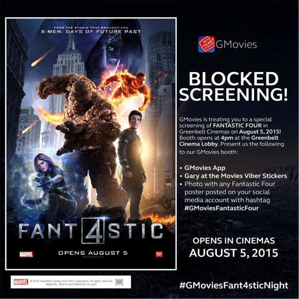Get free movie tickets to Fantastic 4 via GMovies