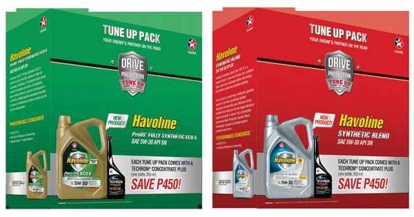 Havoline Tune Up Pack comes in two variants: Havoline® ProDS Fully Synthetic ECO 5 SAE 5W-30 and Havoline® Synthetic Blend SAE 5W-30. Both comes with a 355 mL bottle of Techron Concentrate Plus. They retail at Php 2,486.84 and Php 1,480 respectively.