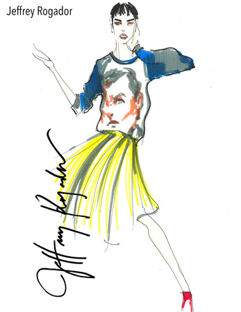 "A sketch rendering of fashion designer Jeffrey Rogador. His latest collection entitled ""Super Pinoy"" will be among the featured collections when Philippine Fashion Week presents the Holiday 2015 Collections from the country's notable style visionaries. Accompanying Jeffrey's designs on the runways are stylish laptop bags from London-based lifestyle accessories brand Knomo London."