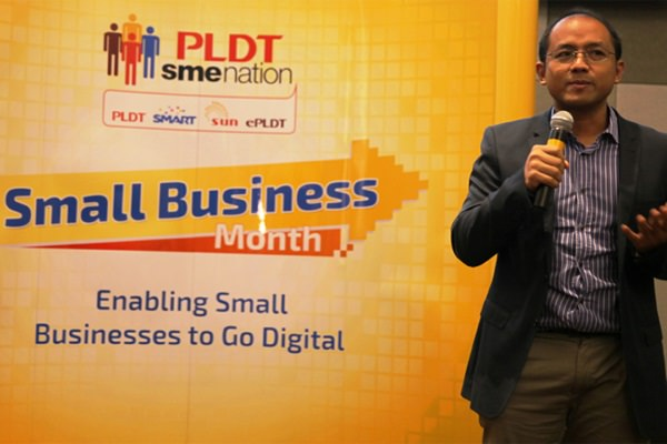 Google Philippines Country Manager Ken Lingan talks about digital solutions for small businesses during the launch of PLDT SME Nation's Small Business Month.