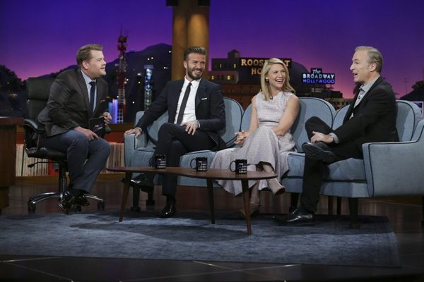 "James Corden chats with guests David Beckham, Claire Danes and Bob Odenkirk on ""The Late Late Show with James Corden,"" Monday, March 30 (12:37 -- 1:37 AM, ET/PT) on the CBS Television Network. Photo: Sonja Flemming/CBS ©2015 CBS Broadcasting, Inc. All Rights Reserved"