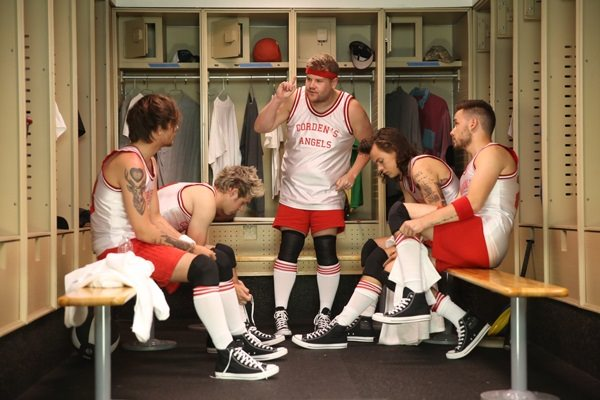 "One Direction members Liam Payne, Harry Styles, Louis Tomlinson and Niall Horan join James Corden's Dodgeball team on ""The Late Late Show with James Corden,"" Thursday, May 14 (12:37 -- 1:37 AM, ET/PT) on the CBS Television Network. Photo: Sonja Flemming/CBS ©2015 CBS Broadcasting, Inc. All Rights Reserved"
