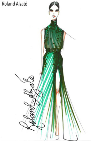 "Filipino style purveyor Roland Alzate shows a sketch of one of the design pieces for his holiday collection titled ""My Automne Hiver 2015"" to be featured at the Philippine Fashion Week on June 12-14 at the SM Aura Premier. Roland's creations will be presented on the runways with powerbanks made by Gosh!. ""My 2015 holiday collection is very sophisticated and controlled, distinctive features that are also evident in the Gosh! Powerbanks Series—the elements of design, texture, volume and beauty intertwine well,"" says Roland."