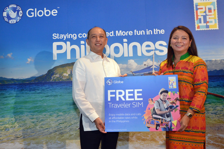 Tourism Promotions Board Chief Operating Officer, Domingo Ramon Enerio III and Globe SVP for International Business, Rizza Maniego Eala