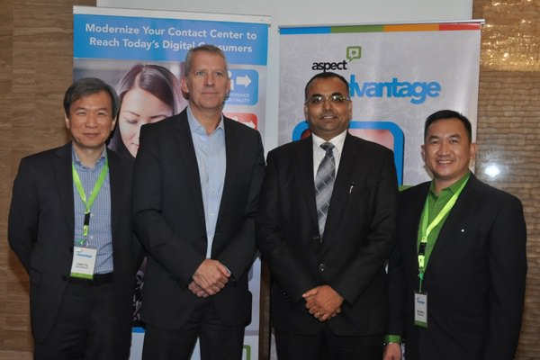 Aspect Software Execs Edwin Ong Senior Dir for Mktg and Alliances in APAC and ME, Jim Freeze Senior VP and Chief Mktg Offcr, Sanjay Gupta Mnging Dir for SA & Alfred Lallana Country Mgr