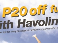 Enjoy P20 off on Caltex gasoline and a chance to win a shopping spree  with every purchase of Havoline Motorcycle Oil
