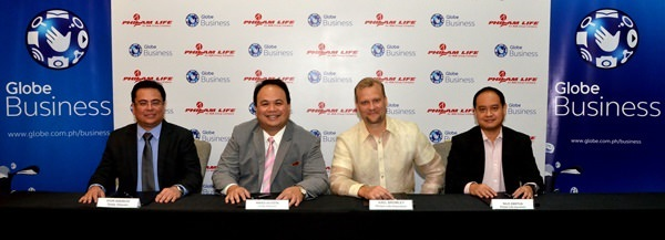 Philam Life renews its partnership with Globe Business, Globe Telecom's ICT arm, to address its growing connectivity requirements for more efficient operations. Leading the contract signing are Globe SVP for Enterprise Group Nikko Acosta (2nd from left) and Philam Life CEO J. Axel Bromley (2nd from right), together with Globe Business VP for Sales Dion Asencio (left) and Philam Life Head of Information Technology Nilo Zantua (right).