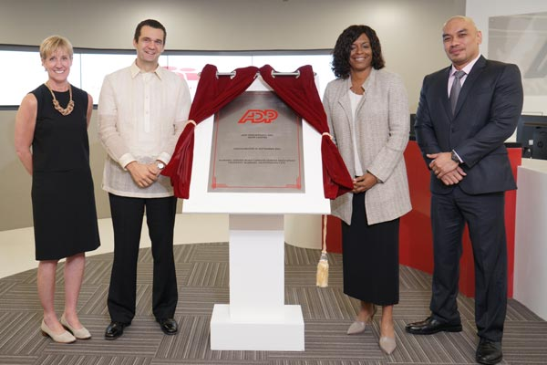 In photo during the inauguration of ADP's new offices in Filinvest, Alabang are (left to right): Tina Tromiczak, Division Vice President for Global Operations and Print Services - ADP; Josep Elias, Vice President & General Manager - ADP (Phils.), Inc.; Debbie Dyson, Corporate Vice President for Client Experience & Continuous Improvement – ADP; and Cris Mirador, Senior Director for Shared Services – ADP (Phils.), Inc.
