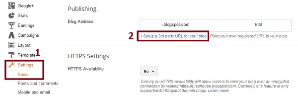 Attach blogger to domain 1