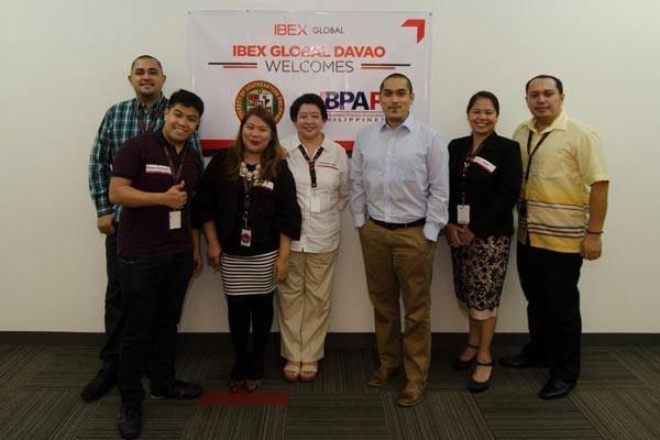 (L-R): IBEX Global's Ian Zafra – VP Sales and Marketing, APAC, Moses Azarcon – Global Brand Manager, Jedi Cruz – Sr. Training Manager, Marianne Valle – Recruitment Manager, Resi Cayabyab – Site Director, Davao, Sandra Cases – Sr. HR Manager, Jeffrey Dismas – Facilities Supervisor