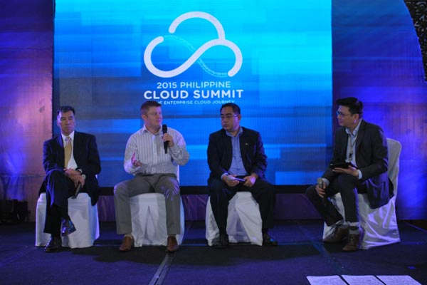 Industry experts weigh-in on cloud computing and data analytics benefits in a panel discussion at IPC's 2015 Philippine Cloud Summit. From L-R: Drew Perez, Managing Director of Adatos; Robert Jenkins, CEO and Co-founder of CloudSigma; and Jonathan Defensor de Luzuriaga, President of the Philippine Software Industry Association; with IPC Director for Product Management and Marketing Niño Valmonte.