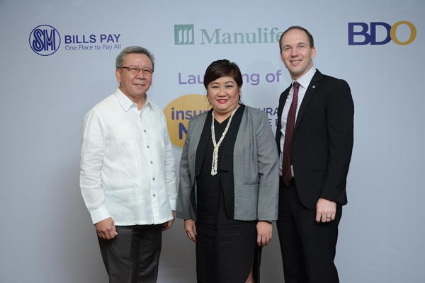 At the launch of insure ME: Insurance Made Easy are SM Retail Inc. President Jorge Mendiola, BDO Insurance Brokers Inc.General Manager Tracy Tan and Manulife Philippines President & CEO Ryan Charland