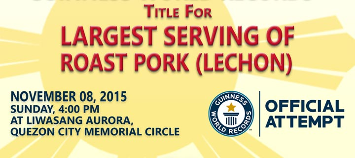 Philippines Aims to break the Guinness World Records™ title for Largest serving of roast pork (Lechon)