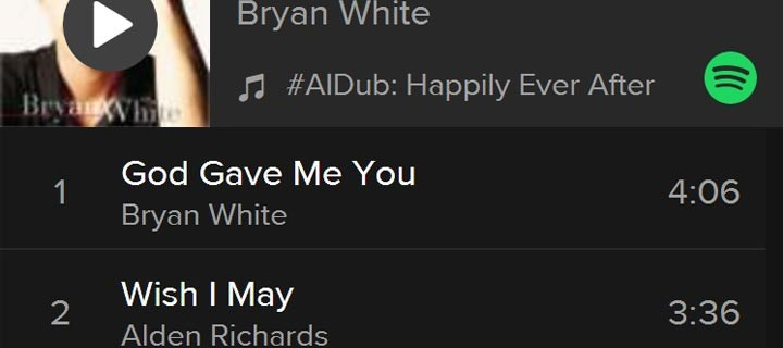 #AlDub: Happily Ever After playlist now on Spotify