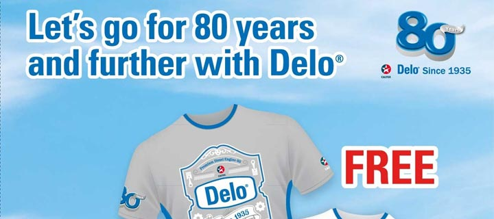 FREE Delo 80th Anniversary T-shirt with every Delo Gold MG SAE15W-40 4L promo pack