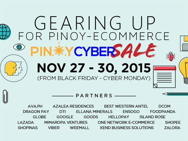 Participating merchants and their offers can be viewed on www.pinoycybersale.com . Merchants include Lazada, Zalora, Foodpanda, Ensogo, Shopee, Goods, Xend Business Solutions, Shopinas, Weemall, AVA.ph, Reloved, Island Rose, Azalea Residences, Best Western Antel, Ellana Minerals, Mimaropa Ventures, One Network E-Commerce, Shopback, and Takatack.