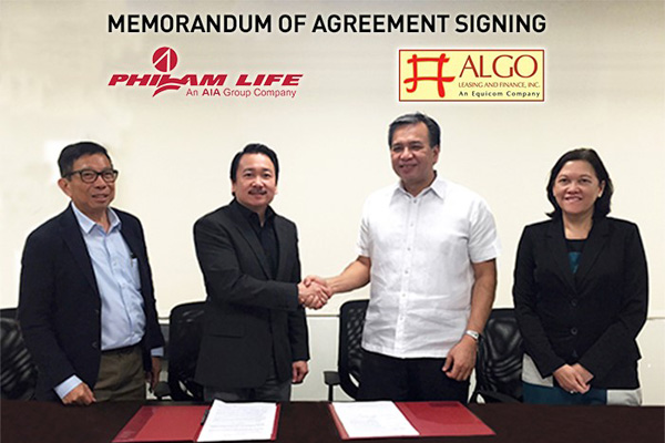 (from left): Philam Life Agency Manager Lito Melendres and Corporate Solutions Sales Head Erwin Go with ALGO Leasing and Finance, Inc. President Constante Lapuz and Executive Director Nelia Carlos