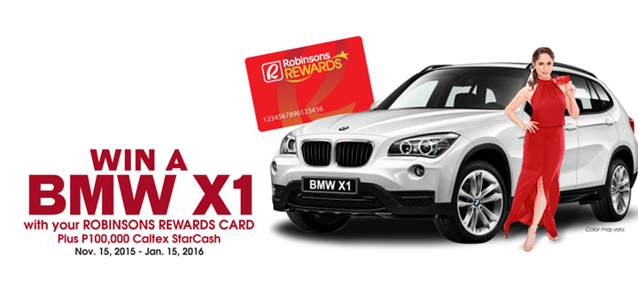Win a BMW X1 plus P100,000 worth of free fuel  by using Robinsons Rewards Card for Caltex fuel ups
