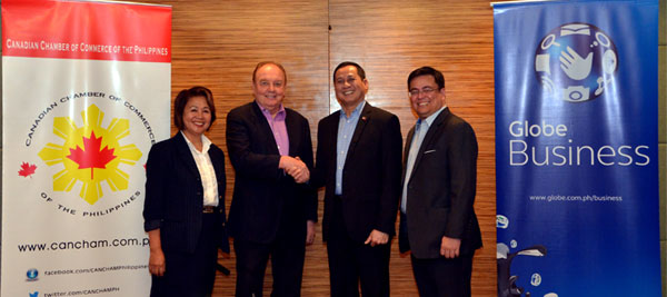 (L-R) Cora Dela Cruz CanCham Executive Director, Julian Payne CanCham President, Jomari Mercado IBPAP President and Dion Asencio Vice President for Sales Globe Business