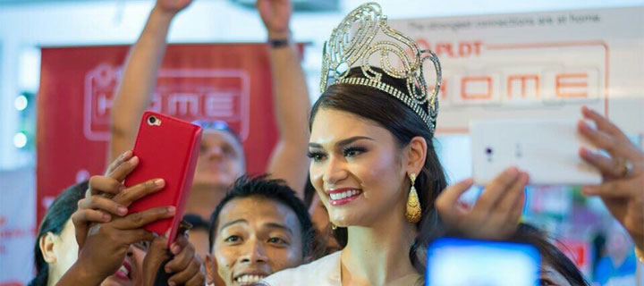 PLDT ambassador Pia Wurtzbach brings HOME the Miss Universe 2015 crown
