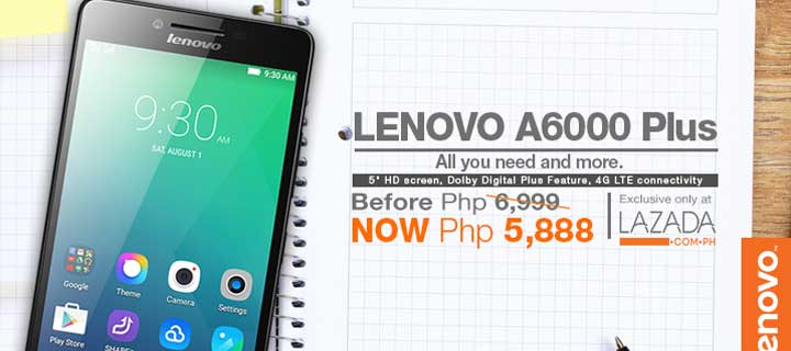 The best-in-class multimedia smartphone Lenovo A6000 Plus now priced at only Php5,888 for Chinese New Year