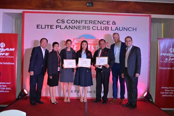 (From Left:) Philam Life's Head of Corporate Solutions (CS) Gerry Cariaso, Chief Agency Officer Anagel Ledesma, Top CS Producing Advisor (PA) in Luzon Unit Manager (UM) Cristy Sanchez, Top CS PA in Manila UM Raquel Co, Top CS PA in Visayas and Mindanao Samuel Eliseo, CEO Axel Bromley and Guest Speaker Rex Mendoza.