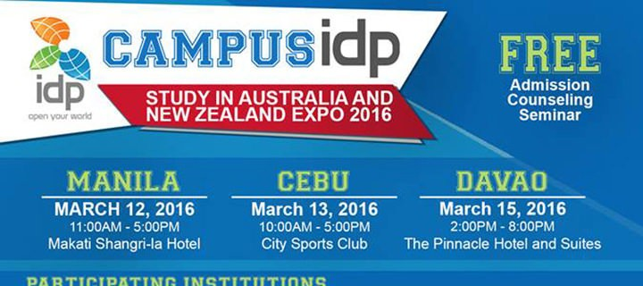 IDP Announces Campus IDP Expo 2016, Study in Australia and New Zealand on  March 12, 13 & 15