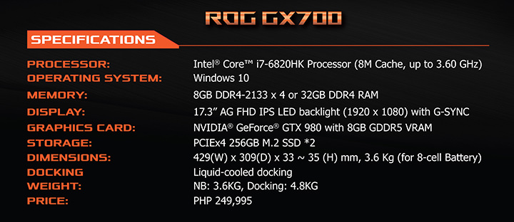 ROG GX700 price, ROG GX700 specs, Legendary 20