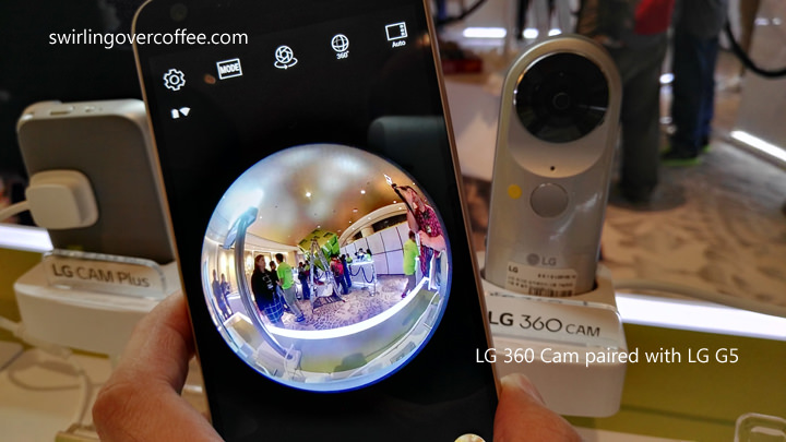 LG 360 CAM (P10,990) with paired LG G5. The CAM is a compact camera with two 13MP 200-degree wide angle cameras on each side, and provides 2k video and high quality 360-degree content.