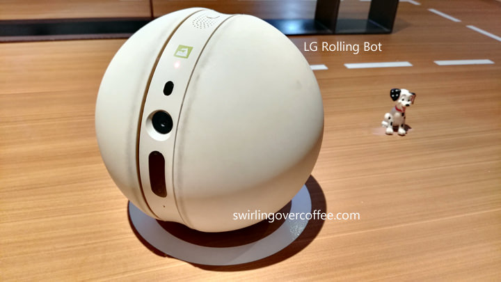 LG Rolling Bot, remote-controllable bot with 8MP camera for monitoring homes via live streaming.
